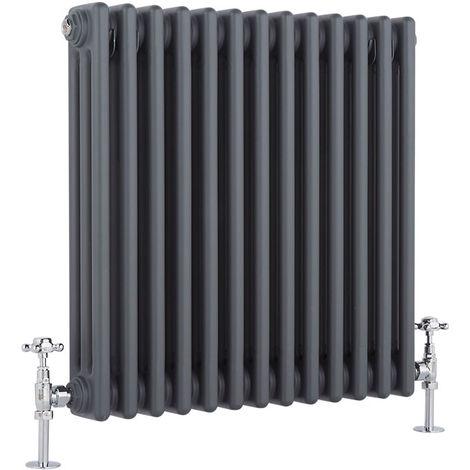 Hudson Reed Regent Radiador de Diseño Horizontal en Estilo de Hierro Fundido - Radiador con Acabado Antracita - Columnas 3 x 13 - 950W - 600 x 605 x 100mm - Calefacción de Lujo