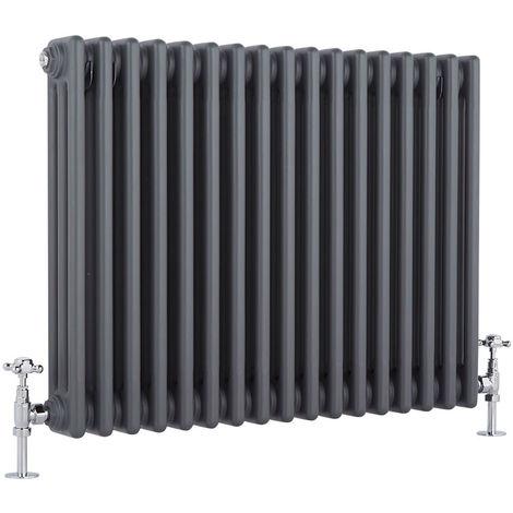 Hudson Reed Regent Radiador de Diseño Horizontal en Estilo de Hierro Fundido - Radiador con Acabado Antracita - Columnas 3 x 17 - 1243W - 600 x 785 x 100mm - Calefacción de Lujo