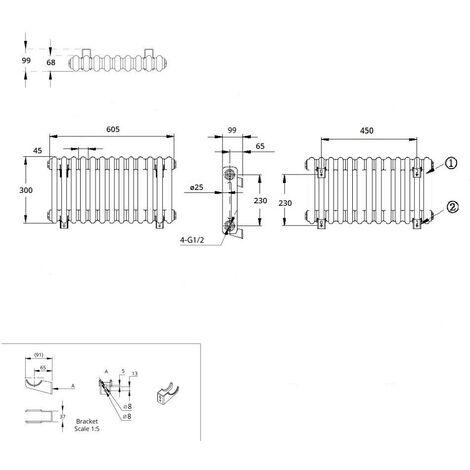 Hudson Reed Regent Radiador de Diseño Horizontal en Estilo de Hierro Fundido - Radiador Con Acabado Blanco - Columnas 2 x 13 - 414W - 300 x 605 x 68mm - Calefacción de Lujo