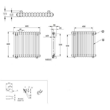 Hudson Reed Regent Radiador de Diseño Horizontal en Estilo de Hierro Fundido - Radiador Con Acabado Blanco - Columnas 2 x 13 - 738W - 600 x 605 x 68mm - Calefacción de Lujo