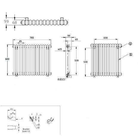 Hudson Reed Regent Radiador de Diseño Horizontal en Estilo de Hierro Fundido - Radiador Con Acabado Blanco - Columnas 2 x 17 - 965W - 600 x 785 x 68mm - Calefacción de Lujo