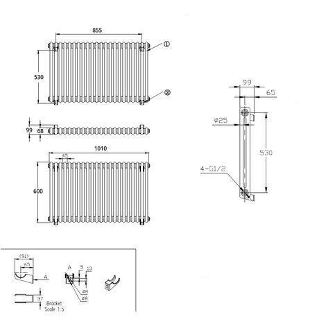 Hudson Reed Regent Radiador de Diseño Horizontal en Estilo de Hierro Fundido - Radiador Con Acabado Blanco -Columnas 2 x 22 - 1249W - 600 x 1010 x 68mm - Calefacción de Lujo