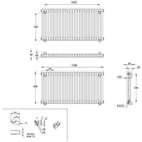 Hudson Reed Regent Radiador de Diseño Horizontal en Estilo de Hierro Fundido - Radiador Con Acabado Blanco -Columnas 2 x 22 - 1476W - 600 x 1190 x 68mm - Calefacción de Lujo