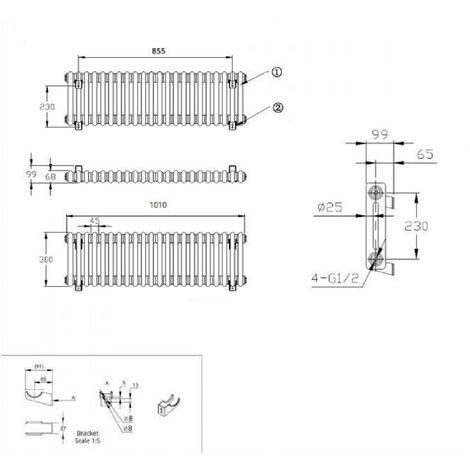 Hudson Reed Regent Radiador de Diseño Horizontal en Estilo de Hierro Fundido - Radiador Con Acabado Blanco -Columnas 2 x 22 - 700W - 300 x 1010 x 68mm - Calefacción de Lujo