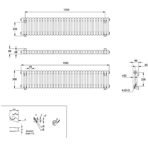 Hudson Reed Regent Radiador de Diseño Horizontal en Estilo de Hierro Fundido - Radiador Con Acabado Blanco - Columnas 2 x 33 - 1050W - 300 x 1505 x 68mm - Calefacción de Lujo