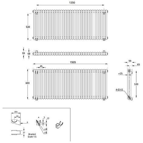 Hudson Reed Regent Radiador de Diseño Horizontal en Estilo de Hierro Fundido - Radiador Con Acabado Blanco - Columnas 2 x 33 - 1873W - 600 x 1505 x 68mm - Calefacción de Lujo