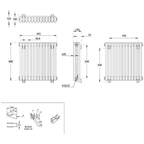 Hudson Reed Regent Radiador de Diseño Horizontal en Estilo de Hierro Fundido - Radiador Con Acabado Blanco - Columnas 3 x 13 - 950W - 600 x 605 x 100mm - Calefacción de Lujo