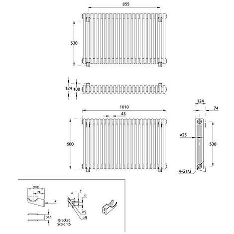 Hudson Reed Regent Radiador de Diseño Horizontal en Estilo de Hierro Fundido - Radiador Con Acabado Blanco - Columnas 3 x 22 - 1608W - 600 x 1010 x 100mm - Calefacción de Lujo