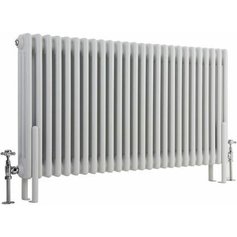 Hudson Reed Regent Radiador de Diseño Horizontal en Estilo de Hierro Fundido - Radiador Con Acabado Blanco - Columnas 3 x 28 - 1900W - 600 x 1190 x 100mm - Calefacción de Lujo