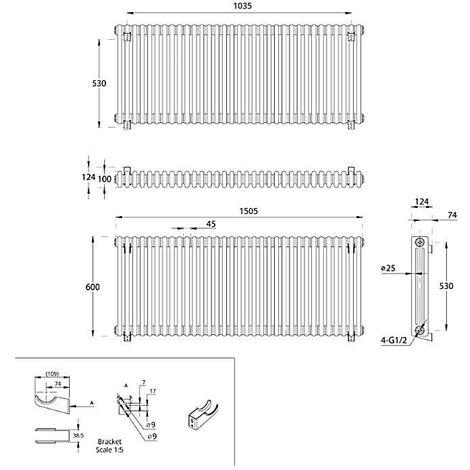 Hudson Reed Regent Radiador de Diseño Horizontal en Estilo de Hierro Fundido - Radiador Con Acabado Blanco - Columnas 3 x 33 - 2412W - 600 x 1505 x 100mm - Calefacción de Lujo