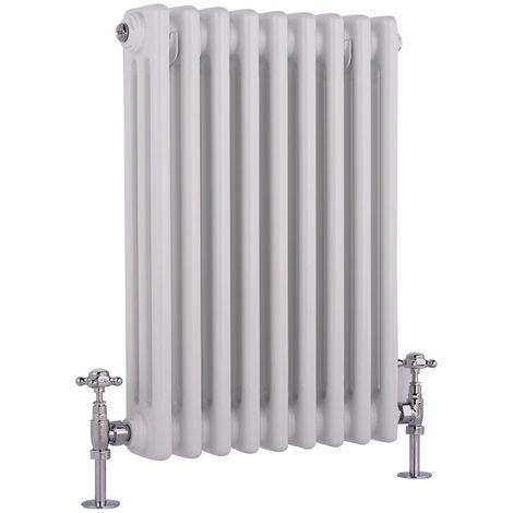 Hudson Reed Regent Radiador de Diseño Horizontal en Estilo de Hierro Fundido - Radiador Con Acabado Blanco - Columnas 3 x 9 - 657W - 600 x 425 x 100mm - Calefacción de Lujo