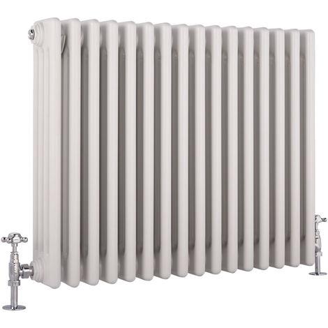 Hudson Reed Regent Radiador de Diseño Horizontal en Estilo de Hierro Fundido - Radiador Con Acabado Blanco - Columnas 4 x 17 - 1613W - 600 x 785 x 139mm - Calefacción de Lujo