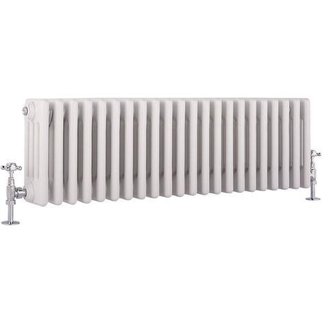 Hudson Reed Regent Radiador de Diseño Horizontal en Estilo de Hierro Fundido - Radiador Con Acabado Blanco - Columnas 4 x 22 - 1060W - 300 x 1010 x 139mm - Calefacción de Lujo