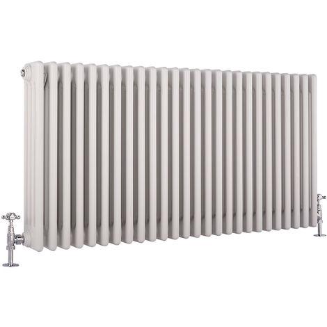 Hudson Reed Regent Radiador de Diseño Horizontal en Estilo de Hierro Fundido - Radiador Con Acabado Blanco - Columnas 4 x 26 - 2467W - 600 x 1190 x 139mm - Calefacción de Lujo