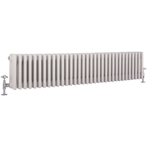 Hudson Reed Regent Radiador de Diseño Horizontal en Estilo de Hierro Fundido - Radiador Con Acabado Blanco - Columnas 4 x 33 - 1793W - 300 x 1505 x 139mm - Calefacción de Lujo