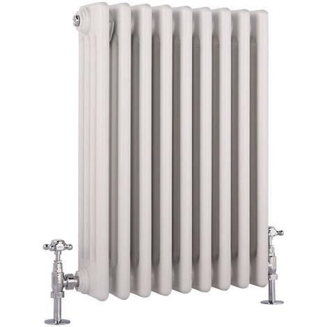 Hudson Reed Regent Radiador de Diseño Horizontal en Estilo de Hierro Fundido - Radiador Con Acabado Blanco - Columnas 4 x 9 - 854W - 600 x 425 x 139mm - Calefacción de Lujo