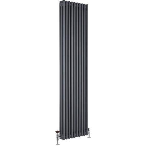 Hudson Reed Regent Radiador de Diseño Vertical en Estilo de Hierro Fundido - Radiador con Acabado Antracita - Columnas 3 x 10 - 1948W - 1800 x 470 x 100mm - Calefacción de Lujo