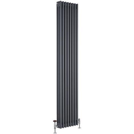 Hudson Reed Regent Radiador de Diseño Vertical en Estilo de Hierro Fundido - Radiador con Acabado Antracita - Columnas 3 x 8 - 1558W - 1800 x 380 x 100mm - Calefacción de Lujo