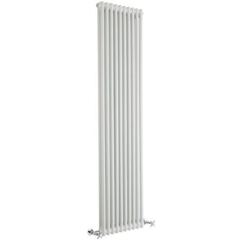 Hudson Reed Regent Radiador de Diseño Vertical en Estilo de Hierro Fundido - Radiador Con Acabado Blanco - Columnas 2 x 10 - 1556W - 1800 x 470 x 68mm - Calefacción de Lujo