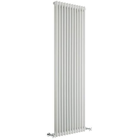 Hudson Reed Regent Radiador de Diseño Vertical en Estilo de Hierro Fundido - Radiador Con Acabado Blanco - Columnas 2 x 12 - 1867W - 1800 x 560 x 68mm - Calefacción de Lujo