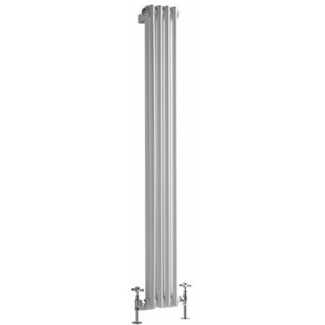 Hudson Reed Regent Radiador de Diseño Vertical en Estilo de Hierro Fundido - Radiador Con Acabado Blanco - Columnas 2 x 4 - 548W - 1500 x 200 x 68mm - Calefacción de Lujo