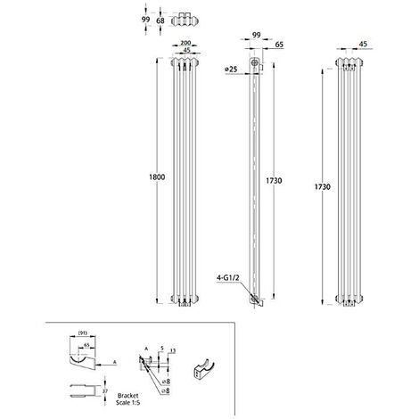 Hudson Reed Regent Radiador de Diseño Vertical en Estilo de Hierro Fundido - Radiador Con Acabado Blanco - Columnas 2 x 4 - 622W - 1800 x 200 x 68mm - Calefacción de Lujo