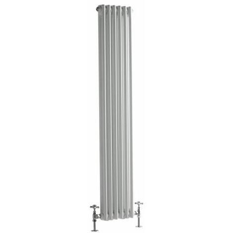 Hudson Reed Regent Radiador de Diseño Vertical en Estilo de Hierro Fundido - Radiador Con Acabado Blanco - Columnas 2 x 6 - 822W - 1500 x 290 x 68mm - Calefacción de Lujo