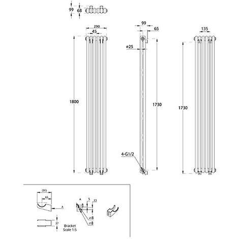Hudson Reed Regent Radiador de Diseño Vertical en Estilo de Hierro Fundido - Radiador Con Acabado Blanco - Columnas 2 x 6 - 934W - 1800 x 290 x 68mm - Calefacción de Lujo