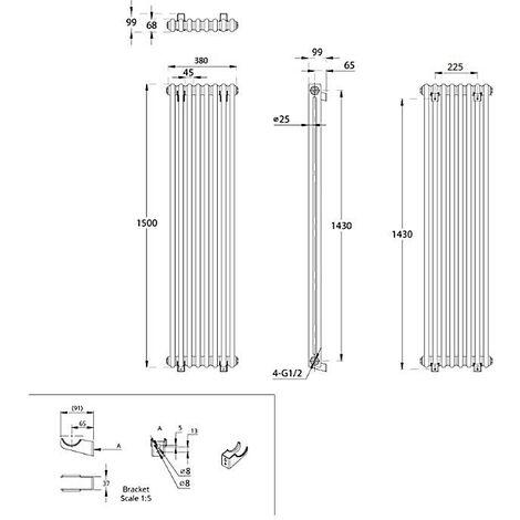Hudson Reed Regent Radiador de Diseño Vertical en Estilo de Hierro Fundido - Radiador Con Acabado Blanco - Columnas 2 x 8 - 1096W - 1500 x 380 x 100mm - Calefacción de Lujo
