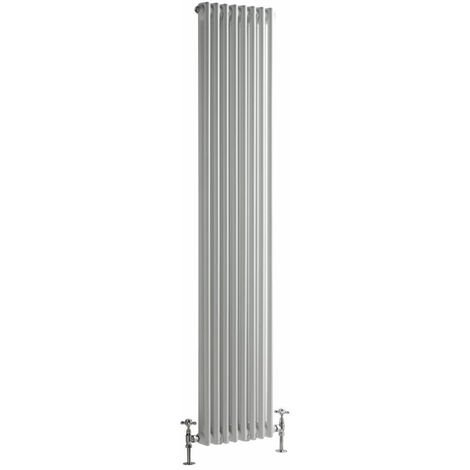 Hudson Reed Regent Radiador de Diseño Vertical en Estilo de Hierro Fundido - Radiador Con Acabado Blanco - Columnas 2 x 8 - 1245W - 1800 x 380 x 68mm - Calefacción de Lujo