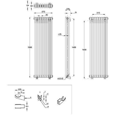 Hudson Reed Regent Radiador de Diseño Vertical en Estilo de Hierro Fundido - Radiador Con Acabado Blanco - Columnas 3 x 10 - 1734W - 1500 x 470 x 100mm - Calefacción de Lujo