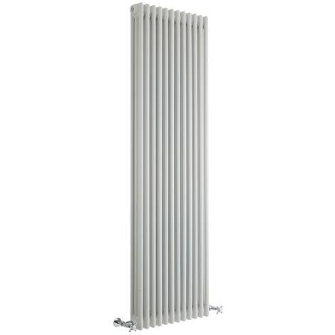 Hudson Reed Regent Radiador de Diseño Vertical en Estilo de Hierro Fundido - Radiador Con Acabado Blanco - Columnas 3 x 12 - 2338W - 1800 x 560 x 100mm - Calefacción de Lujo
