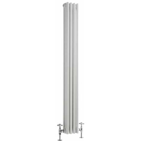 Hudson Reed Regent Radiador de Diseño Vertical en Estilo de Hierro Fundido - Radiador Con Acabado Blanco -Columnas 3 x 4 - 694W - 1500 x 200 x 100mm - Calefacción de Lujo