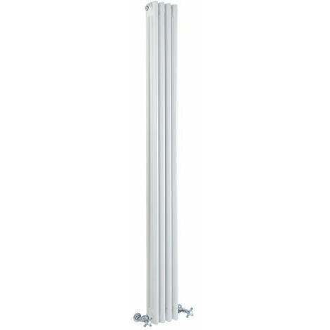 Hudson Reed Regent Radiador de Diseño Vertical en Estilo de Hierro Fundido - Radiador Con Acabado Blanco -Columnas 3 x 4 - 779W - 1800 x 200 x 100mm - Calefacción de Lujo