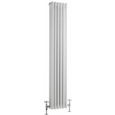 Hudson Reed Regent Radiador de Diseño Vertical en Estilo de Hierro Fundido - Radiador Con Acabado Blanco - Columnas 3 x 6 - 1041W - 1500 x 290 x 100mm - Calefacción de Lujo