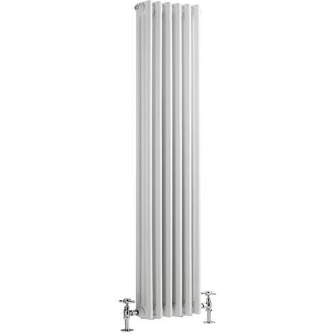 Hudson Reed Regent Radiador de Diseño Vertical en Estilo de Hierro Fundido - Radiador Con Acabado Blanco - Columnas 3 x 6 - 1169W - 1800 x 290 x 100mm - Calefacción de Lujo