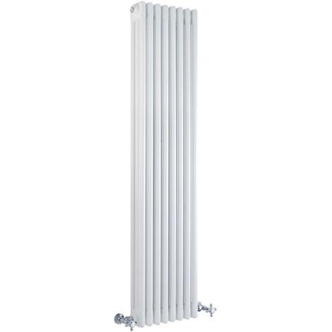 Hudson Reed Regent Radiador de Diseño Vertical en Estilo de Hierro Fundido - Radiador Con Acabado Blanco - Columnas 3 x 8 - 1387W - 1500 x 380 x 100mm - Calefacción de Lujo