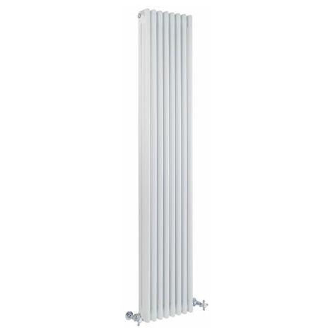 Hudson Reed Regent Radiador de Diseño Vertical en Estilo de Hierro Fundido - Radiador Con Acabado Blanco - Columnas 3 x 8 - 1558W - 1800 x 380 x 100mm - Calefacción de Lujo