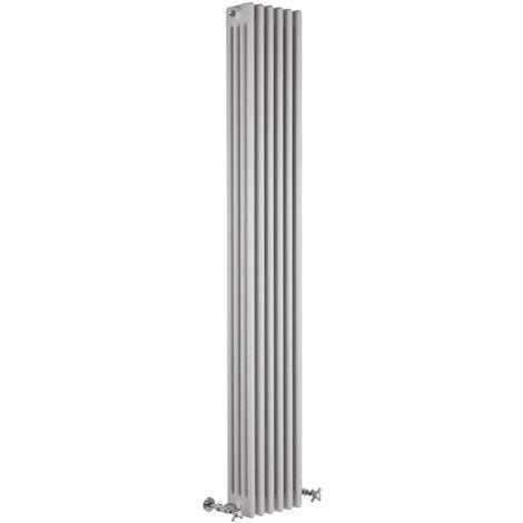 Hudson Reed Regent Radiador de Diseño Vertical en Estilo de Hierro Fundido - Radiador Con Acabado Blanco - Columnas 4 x 4 - 1615W - 1800 x 290 x 139mm - Calefacción de Lujo