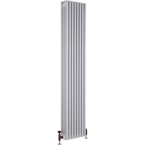 Hudson Reed Regent Radiador de Diseño Vertical en Estilo de Hierro Fundido - Radiador Con Acabado Blanco - Columnas 4 x 8 - 2153W - 1800 x 380 x 139mm - Calefacción de Lujo