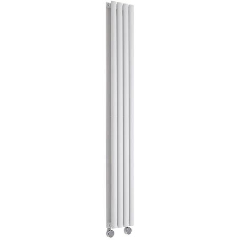 Hudson Reed Revive - Design Heizkörper Elektrisch Vertikal Doppellagig Weiß 1600mm x 236mm inkl. 1x 1200W Heizelemente