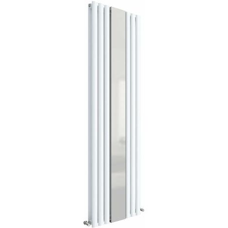 Hudson Reed Revive Double Designer Vertical Radiator Mirror 1800mm H x 499mm W High Gloss White
