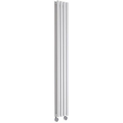Hudson Reed Revive Radiatore Termoarredo Elettrico di Design Verticale - Elemento Riscaldante Termostatico - Termosifone Con Finitura Bianco - 1600 x 236mm