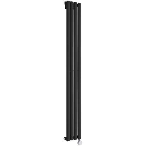 Hudson Reed Revive Radiatore Termoarredo Elettrico di Design Verticale - Elemento Riscaldante Termostatico - Termosifone con Finitura Opaca Nera - 1600 x 236mm