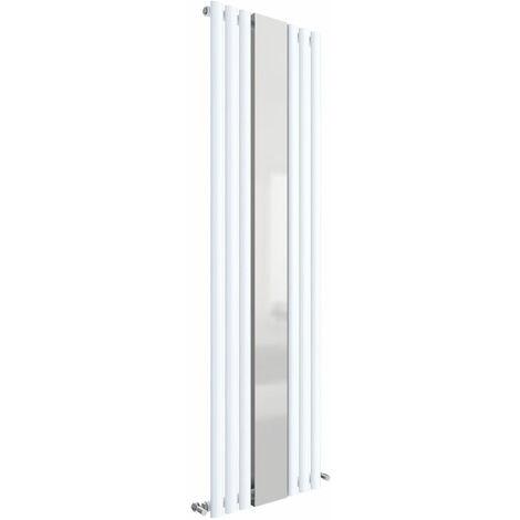 Hudson Reed Revive Single Designer Vertical Radiator Mirror 1800mm H x 499mm W High Gloss White