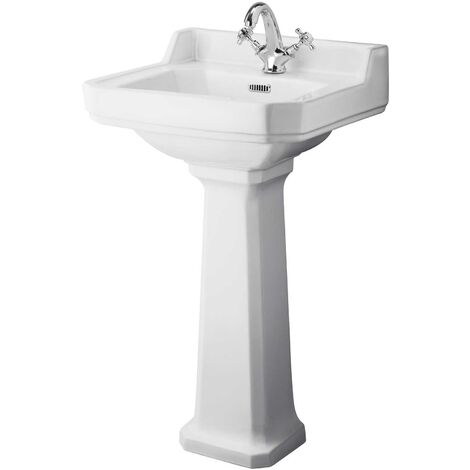 Hudson Reed Richmond Basin and Comfort Height Full Pedestal 500mm Wide - 1 Tap Hole