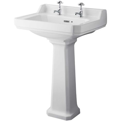 Hudson Reed Richmond Basin and Comfort Height Full Pedestal 600mm Wide - 2 Tap Hole