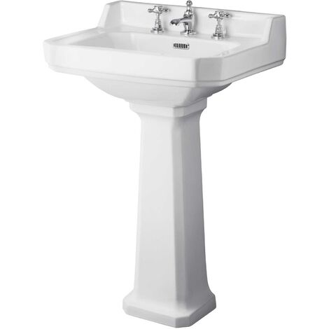 Hudson Reed Richmond Basin and Comfort Height Full Pedestal 600mm Wide - 3 Tap Hole
