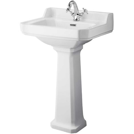 Hudson Reed Richmond Basin with Full Pedestal 560mm Wide - 1 Tap Hole