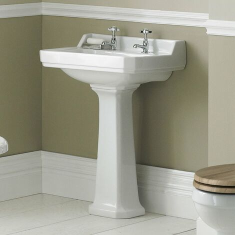 Hudson Reed Richmond Basin with Full Pedestal 595mm Wide - 2 Tap Hole